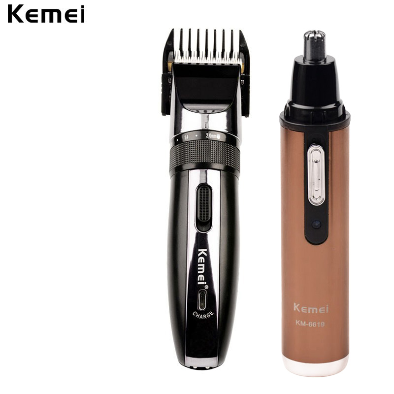 110-240V kemei Low noise Professional Hair Clipper Electric Hair Trimmer Haircut Beard Trimer Nose Hair Removal Shaver Men kemei km 1027 professional adjustable 4 in 1 electric hair clipper haircut trimmer maquina with combs ac220 240v for men