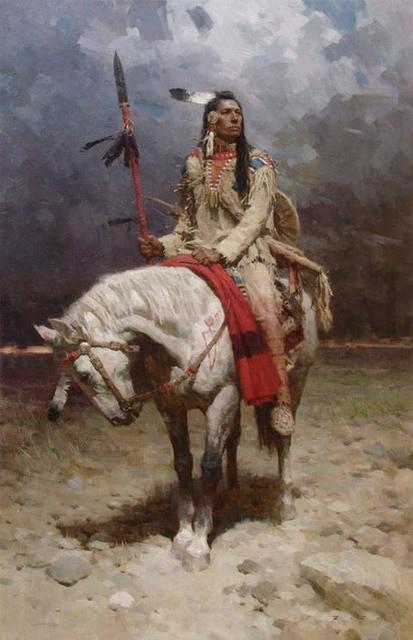 Super Offre spéciale TOP Western Art peinture à l'huile indigènes D  KP72