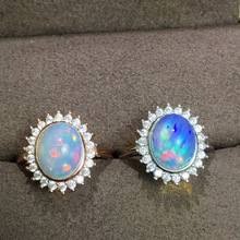 MeiBaPJ Anillo de piedra preciosa a la moda para mujer, 9 estilos, Ópalo Natural, abalorio de plata de ley 925 auténtica, joyería fina