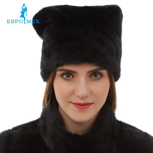 Nueva llegada Linda piel de visón sombreros sombrero de piel de visón real de ruso sombrero de piel Caliente de invierno las mujeres de Moda de invierno Negro de piel sombreros