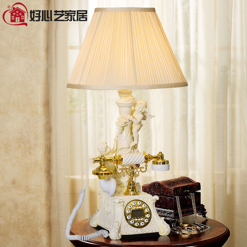 Good art new European romantic fashion retro telephone telephone lamp bedroom antique telephone corded phone ringing tones