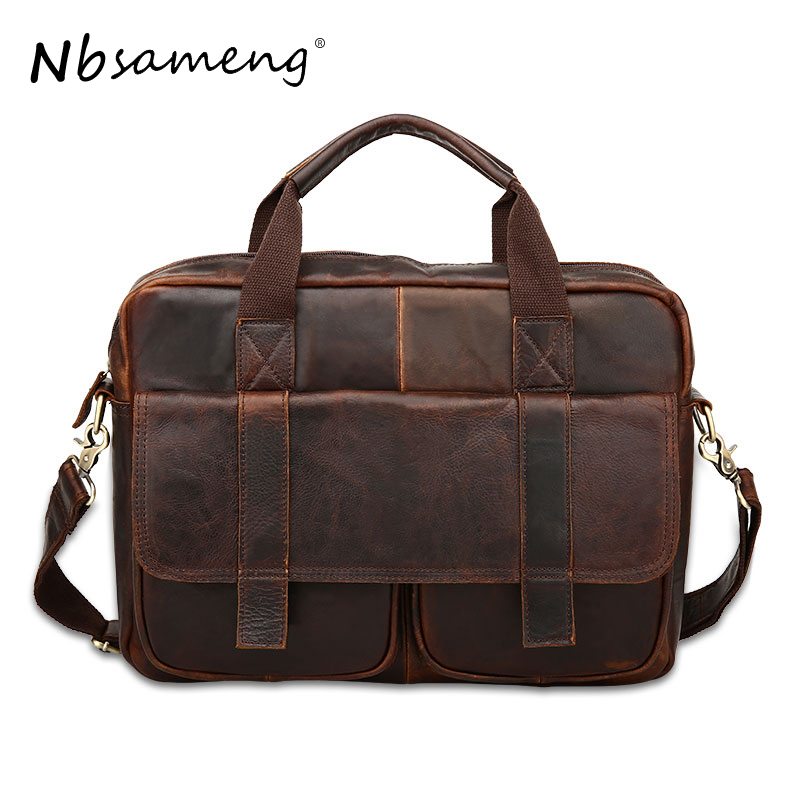 NBSAMENG 2018 Vintage 100% Genuine Leather men bag men's Shoulder Briefcase Business Tote Cowhide Leather Men Messenger Bags
