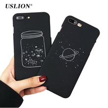 USLION Simple Wishing Bottle Planet Phone Cases For iPhone 7 Moon Stars Case Hard PC Back Cover Capa Coque For iPhone7 6 6s Plus