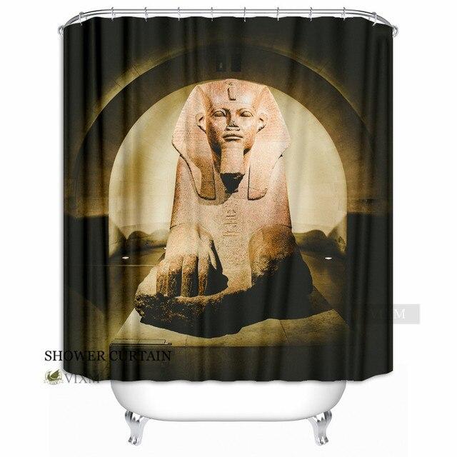 Vixm Home Egyptian Pyramids Sphinx Fabric Shower Curtain Desert Camel Bath For Bathroom