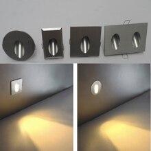 Envío Libre HI-Q De Aluminio Breve lámpara Moderna Escalera LLEVADO Luz 85-265 V 3 W Montado En La Pared de Fondo de Foco de Luz paso de Pasillo de La Lámpara