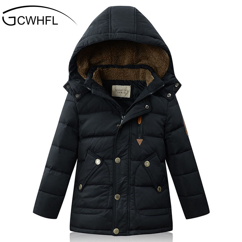 ФОТО 2017 New 5-16 Year Boys Winter Coats Warm Casual Fashion Children Hooded Outerwear Boys Down Jacket 90% Duck Down Coats 4Color