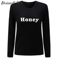 Donnalla T Shirt Women Long Sleeve Womens Tops 2017 Spring Autumn Tee Shirt Women HONEY Printed