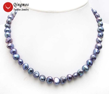 18fa58a469d0 Qingmos negro 8-9mm Natural agua dulce perla gargantillas Collar para las  mujeres con 17   barroco collar de perlas finas joyería nec6141