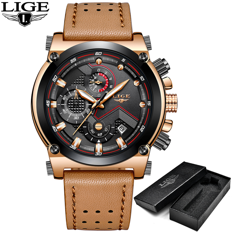 LIGE Mens Watches Top Brand Luxury Casual Quartz Watch Men Leather Big Dial Military Waterproof Sport Wristwatch Relojes hombre agelocer brown watch a classic timepiece sport dual dial mens casual wristwatches wristwatch free shipping relojes para hombre