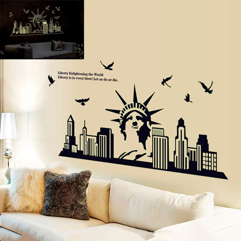 Home Decor DIY The New York City Silhouette Statue Of Liberty Background  Fluorescent Luminous Room Wall Sticker J2Y