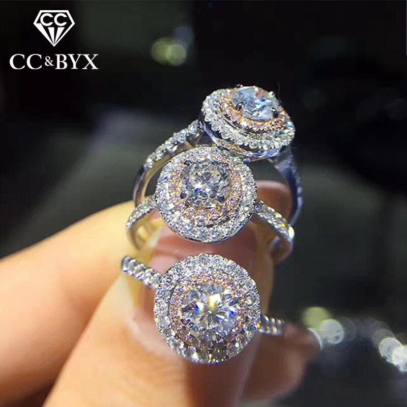 86d019632e CC S925 Anéis De Casamento De Prata Para As Mulheres Rosa Rodada Cubic  Zirconia Pedra Anel