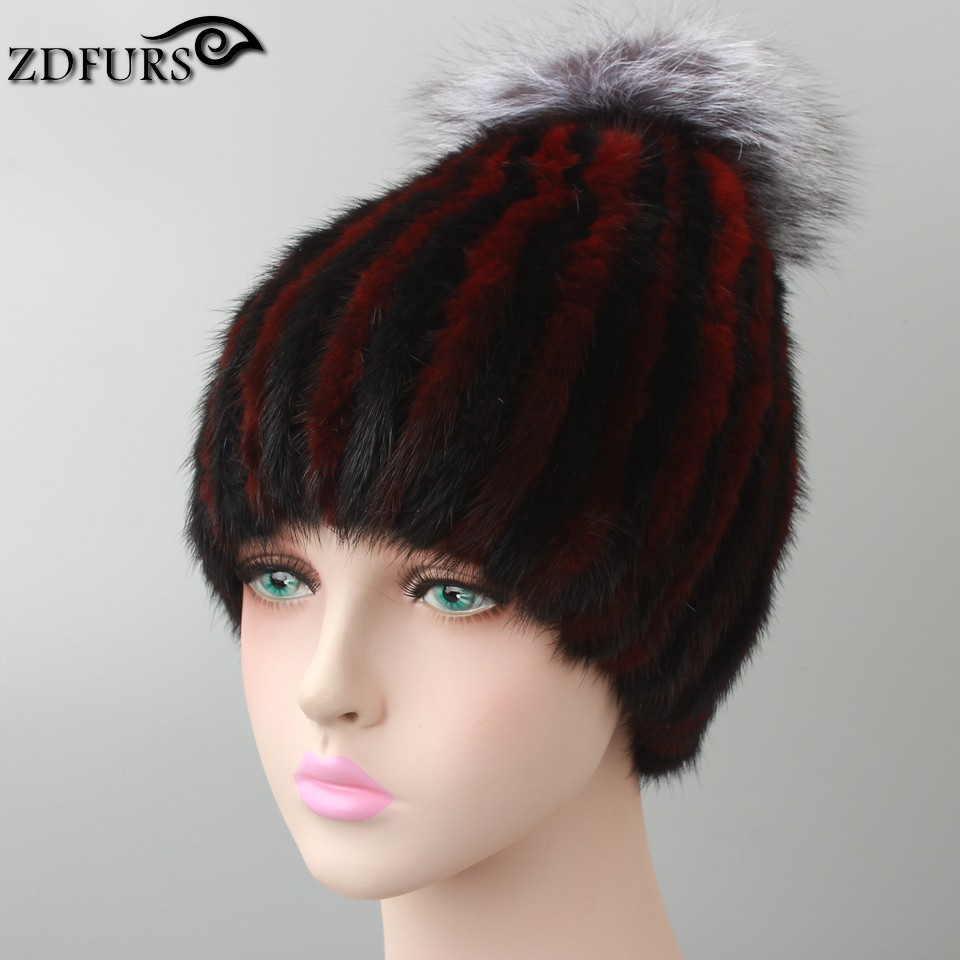2016 Hot sale Real Mink Fur Hat for Women Winter Knitted Mink Fur Beanies Cap with Fox Fur Pom Poms Brand New Caps Mixed Colors 1502 12a6u1b1 for solenoid 1500 2004 12v 1502