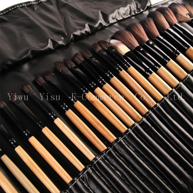 Hot Sale 32 pçs/set Preto 50 Pincéis de maquiagem Conjunto Profissional de Cosméticos Sombras Delineador Lábio sobrancelha Fundação Blush Make Up Ferramentas Kits saco