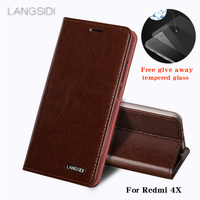 wangcangli For Redmi 4X phone case Oil wax skin wallet flip Stand Holder Card Slots leather case to send phone glass film