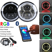 7″ LED Headlights Round RGB Halo Angel Eye with Bluetooth APP Control iPhone and Android Compatible for 1997~2016 Jeep Wrangler