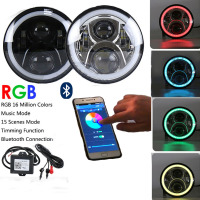 7 LED Headlights Round RGB Halo Angel Eye with Bluetooth APP Control iPhone and Android Compatible for 1997~2016 Jeep Wrangler