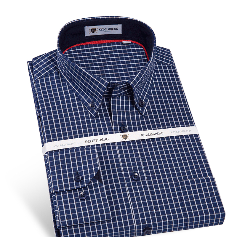 Men's Long Sleeve Oxford Mini Plaid Dress Shirt with Front Pocket High quality Pure Cotton Casual Slim fit Button down Shirts