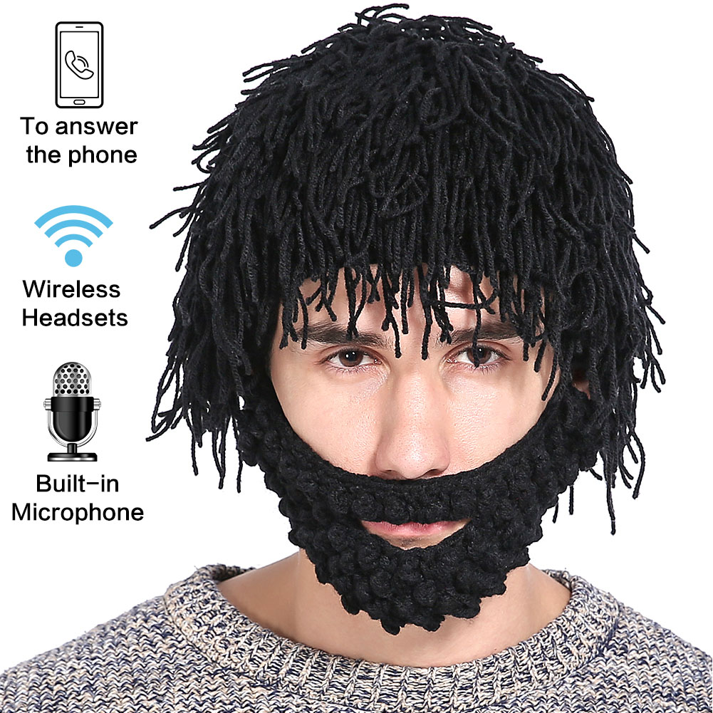 Hands-free Funny Gift 2-in-1 Earphone Halloween With Wig Outdoor Sport Winter Warm Ski Mask Beard Hats Bluetooth Hat Beanie