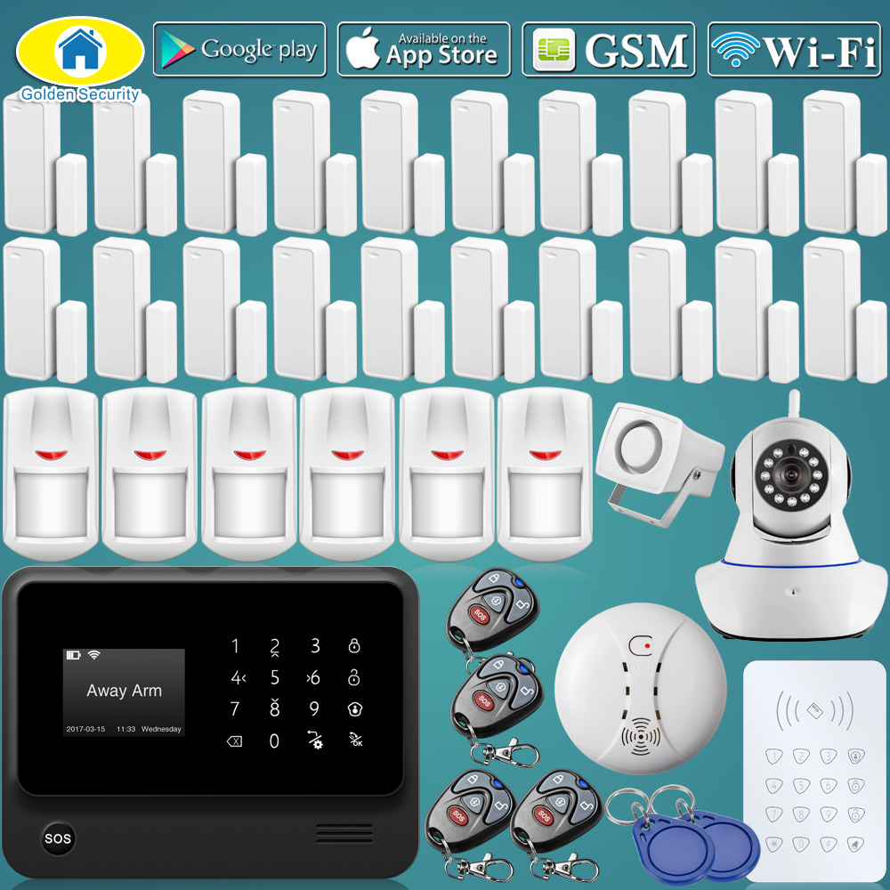 Golden Security G90B Plus WiFi GSM GPRS CID Wireless Home Alarm System Security 720P WiFi IP Camera,20Pcs Wireless Door Sensor g90b 2 4g wifi gsm gprs sms intruder wireless home security alarm system hd 720p wifi ip camera wireless smoke detector