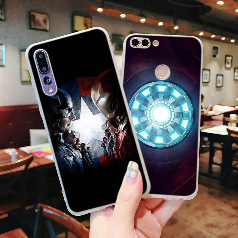 Silicone Case Marvel Captain Spider for Huawei Nova 3 4 Honor 7C 7A 8 8X 9 10 Y5 Y6 Y7 Y9 V20 Lite Pro 2019 2018 Cover in Fitted Cases from Cellphones Telecommunications