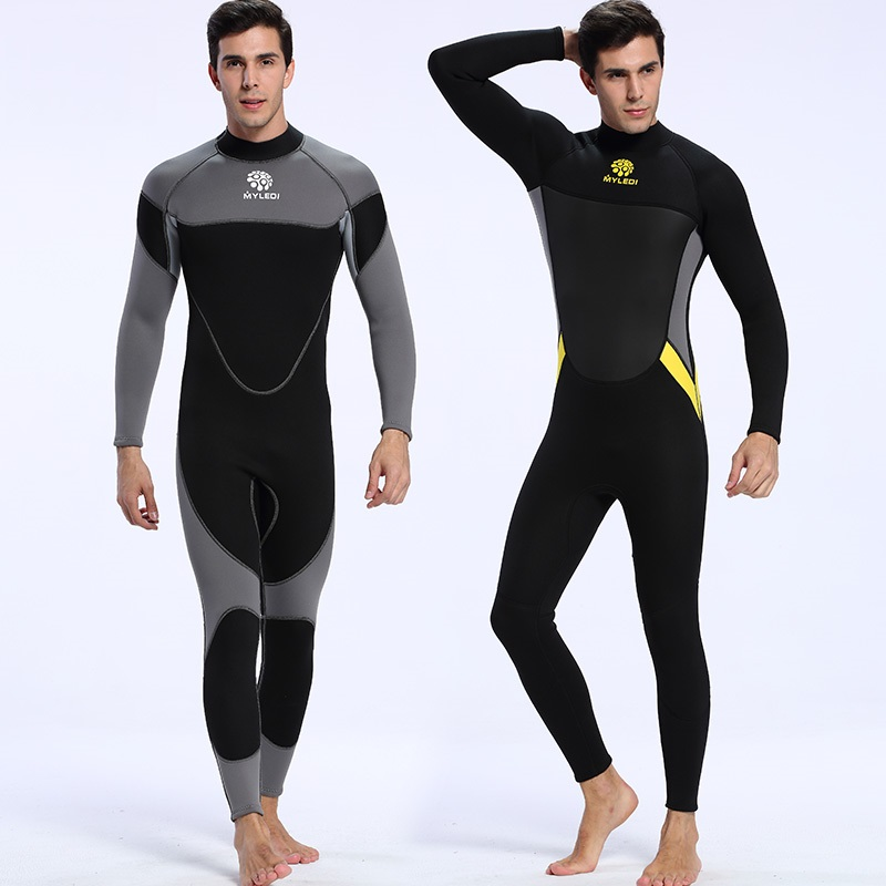 New design mens 3mm professional diving wetsuit one piece long sleeve Snorkeling Surfing wetsuit