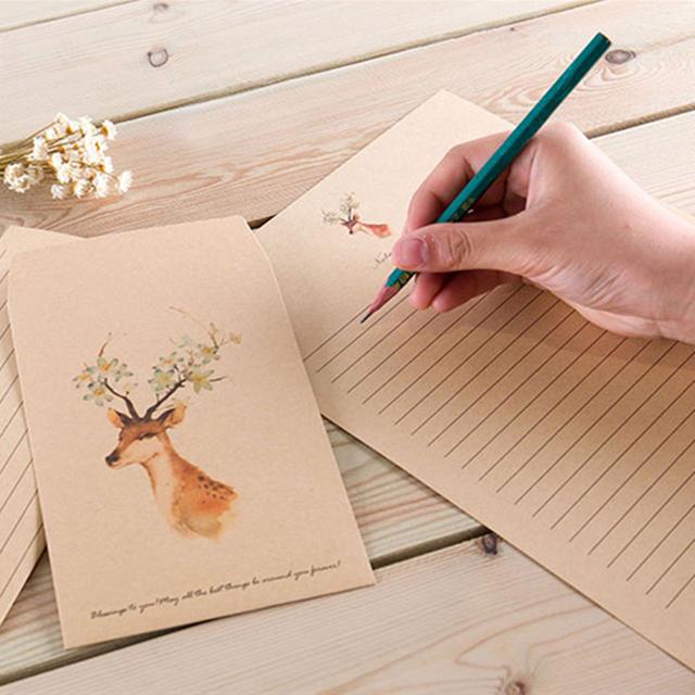 5 шт. милый олень открытки с конвертом поздравительные открытки 10 Письмо Бумага Винтаж Европейский прекрасный стиль для карты Скрапбукинг письмо