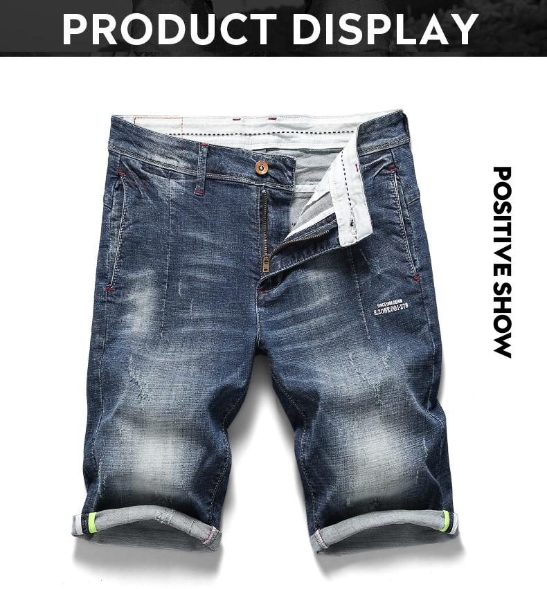 KSTUN 2020 New Arrivals Jeans Shorts for Men Regular Fit Stretch Blue Casual Pants Famous Brand Men's Clothes Male Cowboys Shorts 11