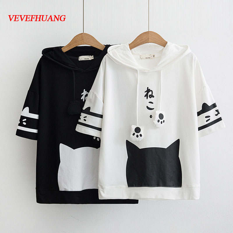 VEVEFHUANG 2018 Summer New Fashion Hoodies Short Sleeve Hooded Print Pullovers Female Cartoon Loose Preppy Style Women Tops