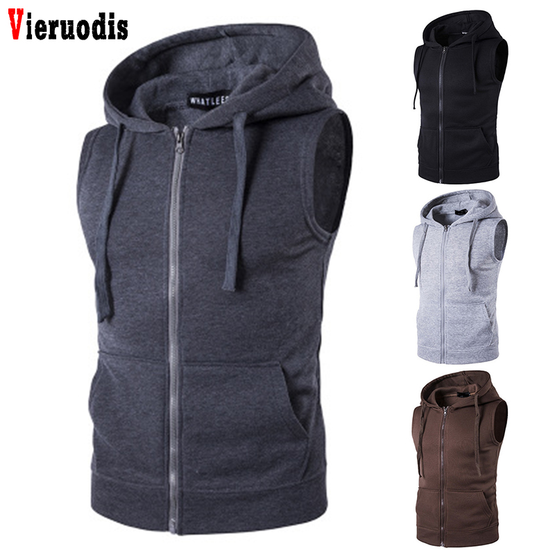 Autumn Spring Cardigans Jacket Men's Sleeveless Fashion Hoody Sweatshirt Fit Slim Casual Zipper Pocket Men Vest Jacket Hoodies