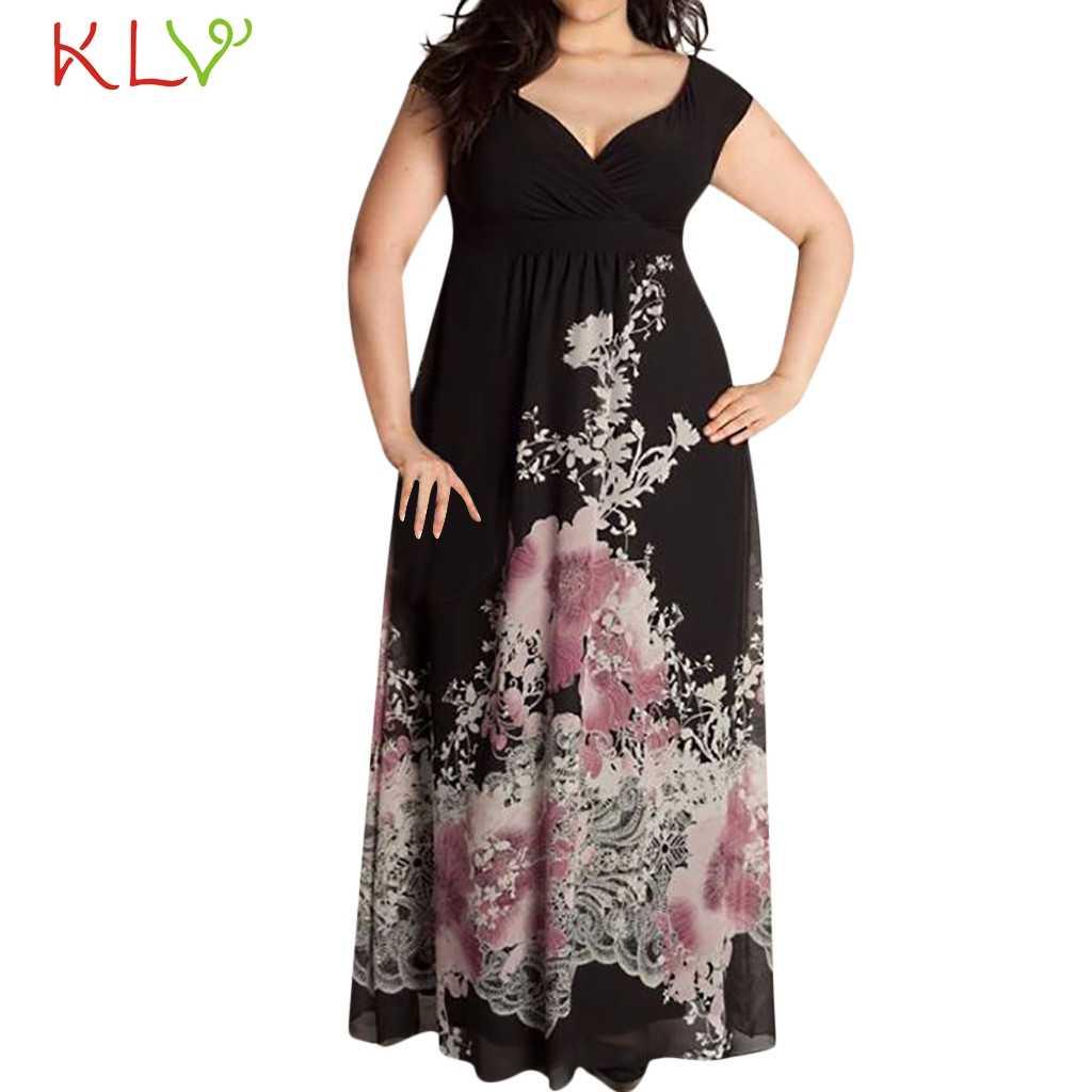 Женское длинное сексуальное платье с принтом, Элегантное летнее платье макси, вечернее платье 2019, Повседневное платье больших размеров, vestidos robe Femme 19мая
