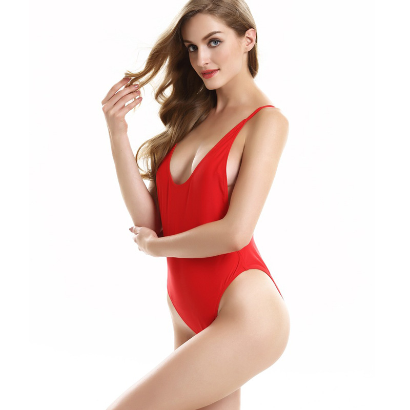 Sexy One Piece Swimsuits For Women Open Back Swimwear High -8998