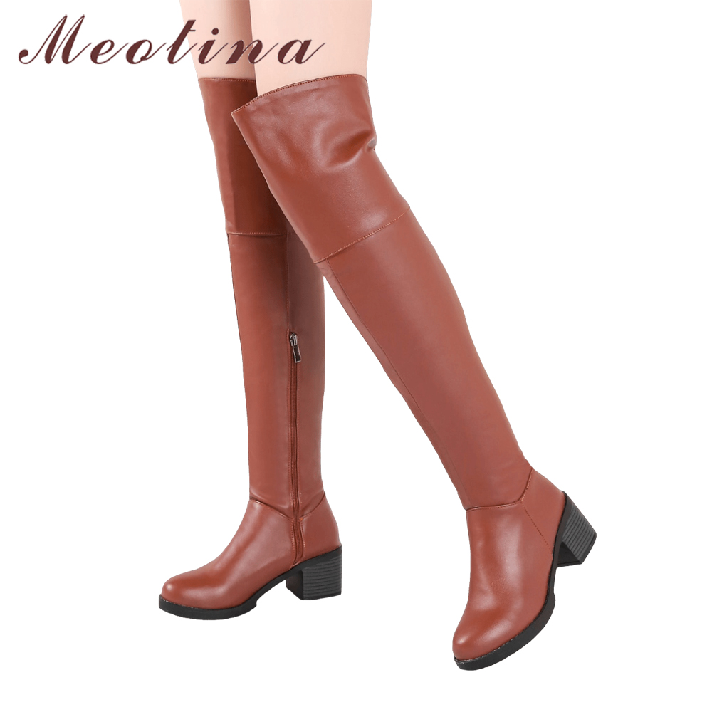 Meotina Thigh High Boots Winter Over the Knee Boots Women Square High Heels Long Boots Zip Ladies Long Shoes Black Brown 34-43 meotina women boots high heels thigh high boots winter sexy over knee boots ladies autumn shoes black white shoes big size 10 43