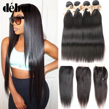 Straight Hair Bundles With Closure  Brazilian Virgin Hair Weave Bundles With Closure Human Hair Bundles With Closure  Extension