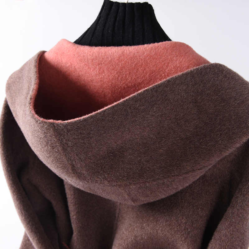 BELIARST 18 Autumn and Winter New Women's Double-Sided Long Wool Coat Hooded Belt Jacket Cardigan Warm Wild Slim waist Overcoat
