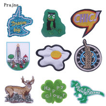 Prajna Cartoon Fashion Patches Cute Dinosaur Sticker Sewing Iron-on Embroidered Applique 3D DIY For Clothing Washable Patch H(China)