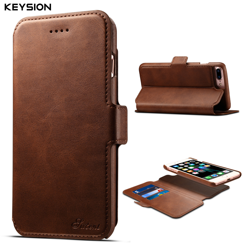 KEYSION Luxury Flip Case for iPhone 8 8 Plus Removable Wallet Case Magnetic 2 in 1 PU Leather Card Slots Case for iPhone7 7Plus
