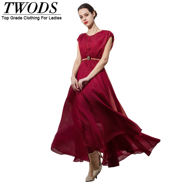 25b163119e2 Twods S- XXXL Shiny Red Silk Women Maxi Dress Back Bow-knot Swing Long  Dresses Plus Size XXL Romantic Vestidos De Verano