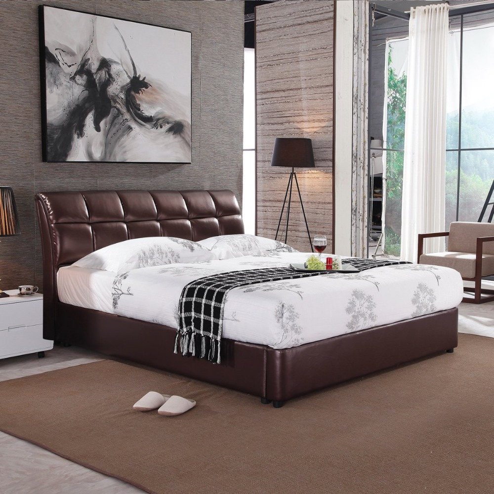 King Bett Us 150 Rama Dymasty Genuine Leather Soft Bed Modern Design Bed Bett Cama Fashion King Queen Size Bedroom Furniture In Beds From Furniture On