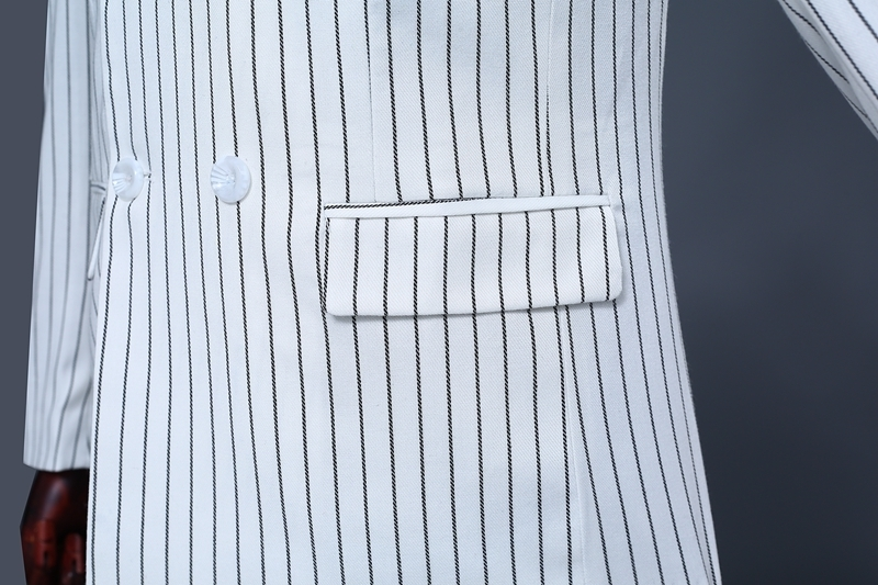 Pyjtrl Brand Men's Two Piece Set White Stripe Dress Suits Wedding Suits For Men Tuxedo Gentle Modern Blazer Men Suits #5