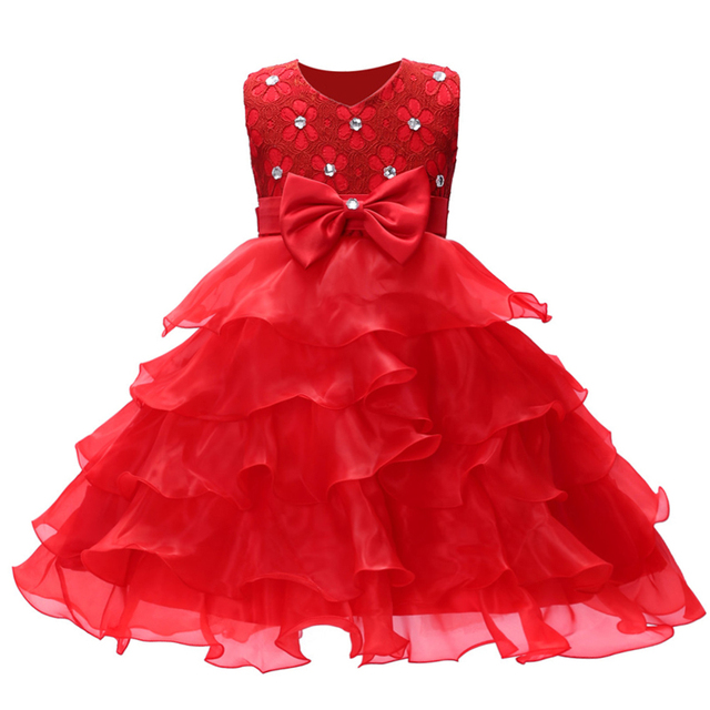 [6 couleurs 3-8years] Elvesnest filles robe dété dentelle Bow robe de princesse robes de fille de fleur robes de fête danniversaire de mariage