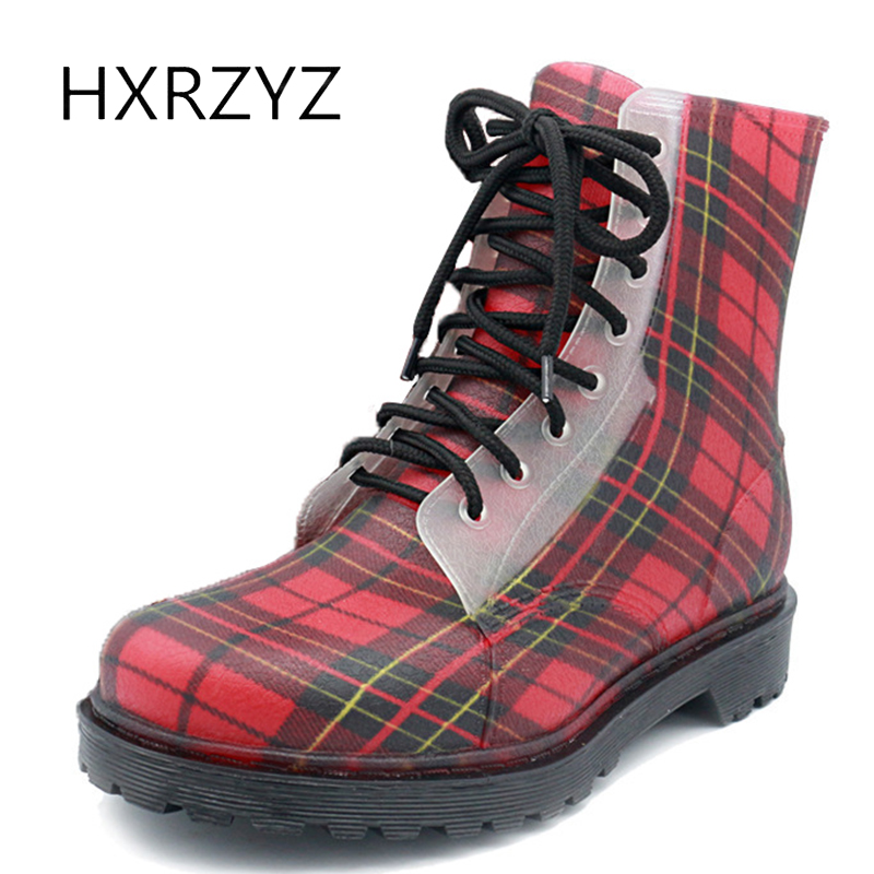 HXRZYZ women rain boots spring/autumn waterproof ankle boots ladies new fashion PVC lace-up slip-resistant striped women shoes hxrzyz women rain boots spring autumn female ankle boots ladies fashion high top blue and red non slip waterproof women shoes