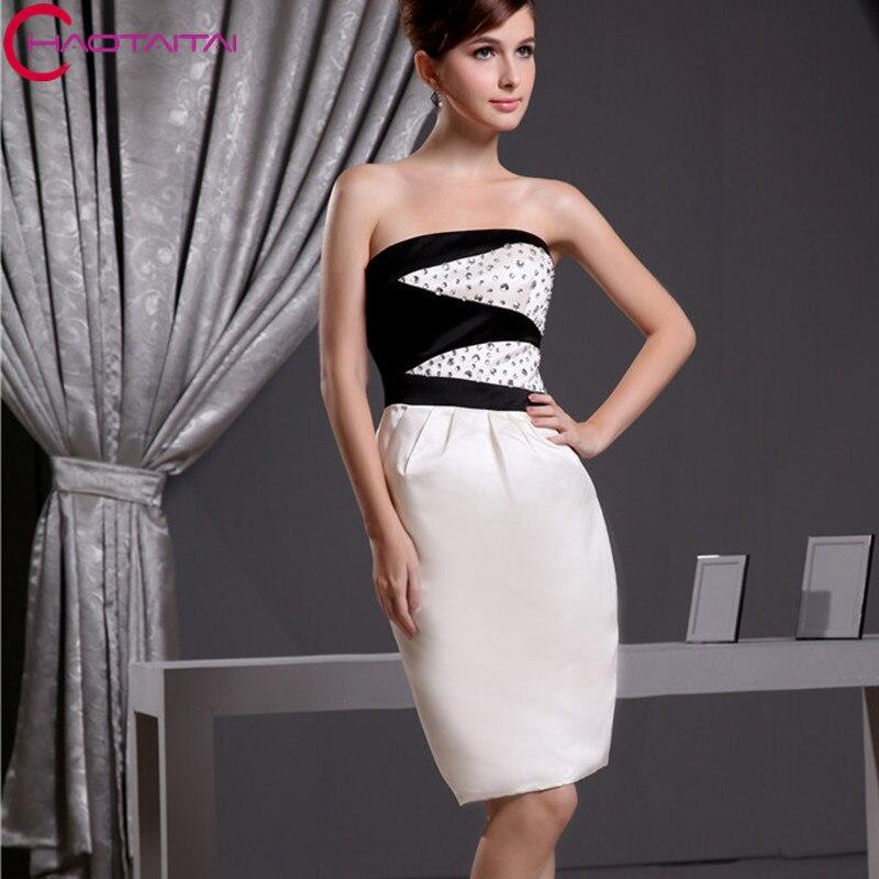 Elegant Beaded Crystals Party Dress Short Ivory Black Cocktail Dresses 2018 e5e46942ded8