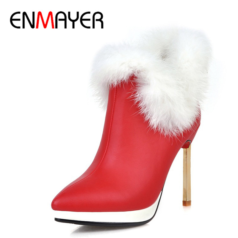 ENMAYER 2018 New Winter Womans Warm Boots High Heel Sexy Shoes Woman Ankel Slip On Pointed Toe Shoes Size 34-43 Boots CY026ENMAYER 2018 New Winter Womans Warm Boots High Heel Sexy Shoes Woman Ankel Slip On Pointed Toe Shoes Size 34-43 Boots CY026