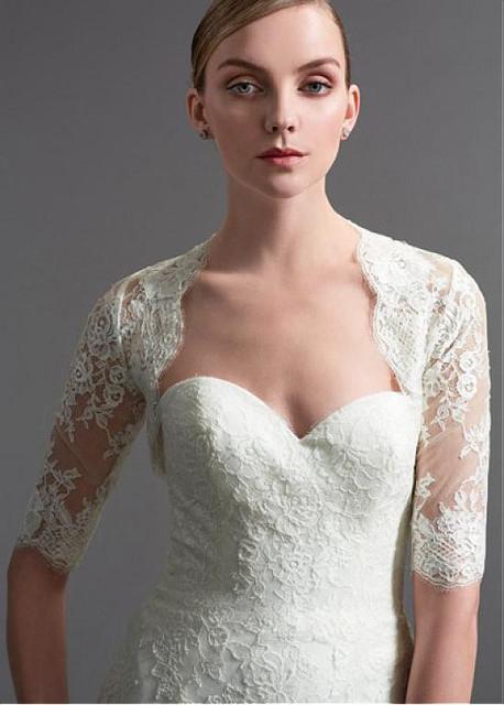 Branco Marfim Custom Made Casacos de Casamento Rendas Jaquetas De Noiva Novos Acessórios de Design de Casamento Boleros de Noiva