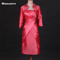 2018 Real Photos Mermaid Strapless Pleated Red Short Evening Dress with Removalbe Jacket Custom Made Evening Gown