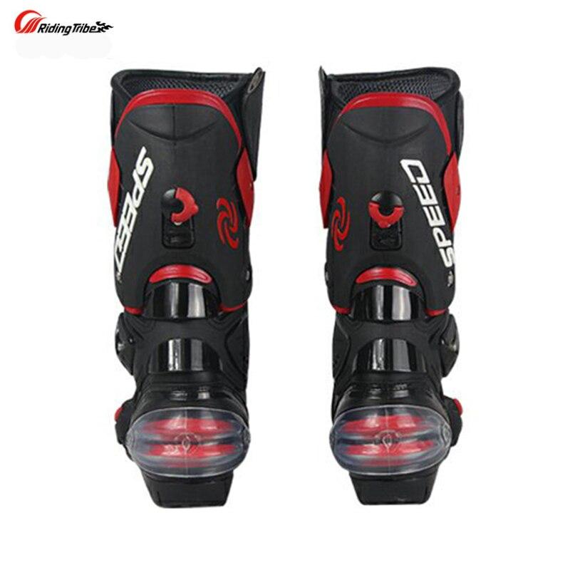 Stivali Da moto Velocità degli uomini di Corse di Motocross In Microfibra In Pelle di Avvio Moto goccia resistenza stivali - 5