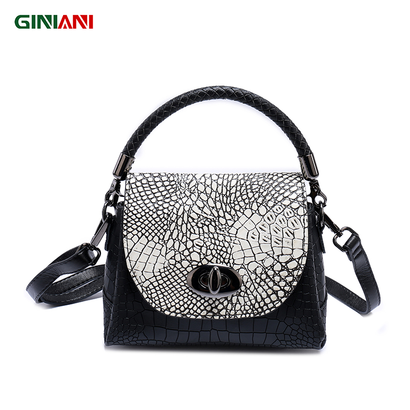 GINIANI Genuine Real Leather Alligator Revolving Button Cute Trapeze Handbag Tungsten Steel Hardware Little Crossbody Bags-in Top-Handle Bags from Luggage & Bags    1