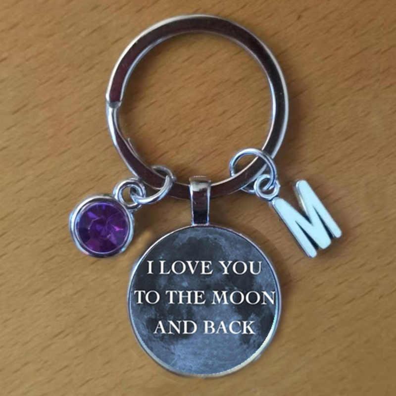 Eu te amo para a lua e para trás chaveiro, há um chaveiro para pedras de aniversário, keystone inicial para pedras de aniversário