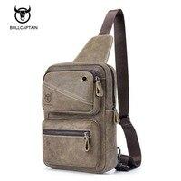 BULLCAPTAIN Brand 100 Top Cowhide Genuine Leather Male Crossbody Bag Slim Shoulder Bag Business Travel Ipad