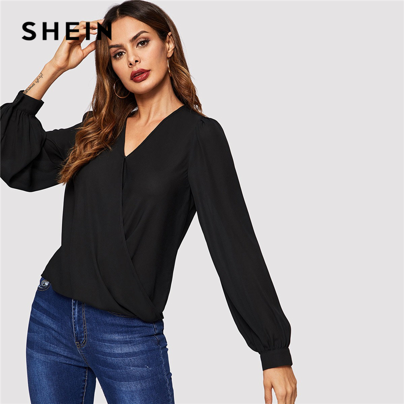 SHEIN Black Bishop Long Sleeve V Neck Draped Solid Top Blouse Women 2019 Spring High Street Office Ladies Tops And Blouses